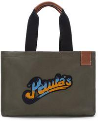 Loewe Paula's Ibiza Logo-appliquéd Leather-trimmed Canvas Tote Bag - Green