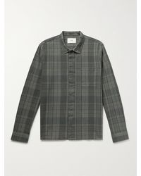 Folk Patch Checked Textured Cotton-flannel Shirt - Grey