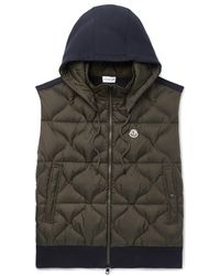 Moncler - Slim-fit Panelled Jersey And Quilted Shell Hooded Down Gilet - Lyst