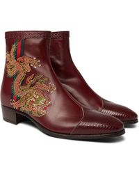 Gucci - Webbing-trimmed Embroidered Leather Chelsea Boots - Lyst