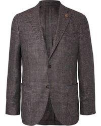 Lardini | Brown Unstructured Checked Silk Blazer | Lyst