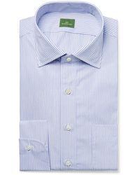 Sid Mashburn Blue Striped End-on-end Cotton Shirt