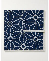 Blue Blue Japan Printed Indigo-dyed Cotton Pocket Square - Blue