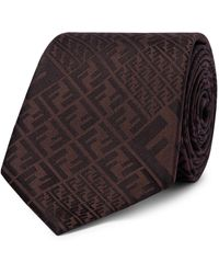 Fendi 8cm Logo-jacquard Silk Tie - Brown