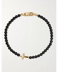 David Yurman - Cross Station Onyx And 18-karat Gold Beaded Bracelet - Lyst