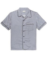 You As Oswald Camp-collar Piped Printed Silk Shirt - Blue