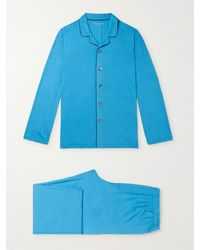 Derek Rose Stretch Micro Modal Jersey Pajama Set - Blue