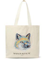 Maison Kitsuné Printed Cotton-canvas Tote Bag - Multicolour