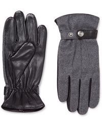 Dents - Flannel And Leather Gloves - Lyst