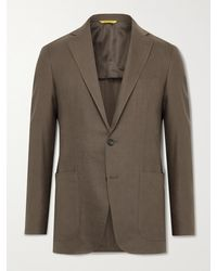 Canali Kei Slim-fit Linen And Wool-blend Suit Jacket - Brown