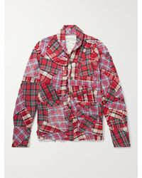 Greg Lauren Distressed Patchwork Checked Cotton Overshirt - Red