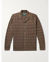 Gitman Brothers Vintage Camp-collar Checked Cotton-flannel Shirt - Brown