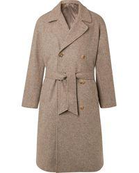 De Bonne Facture Double-breasted Mélange Wool Coat - Multicolour
