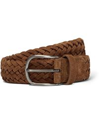 Andersons 4cm Tan Woven Suede Belt - Brown
