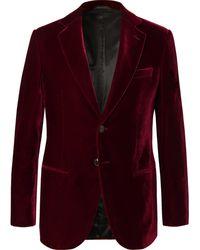 Giorgio Armani Claret Slim-fit Velvet Tuxedo Jacket - Red