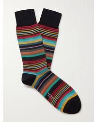 Paul Smith Stephen Striped Cotton-blend Socks - Blue
