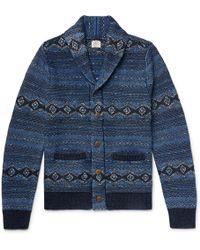 Faherty Indigo Shore Slim-fit Shawl-collar Cotton-blend Jacquard Cardigan - Blue