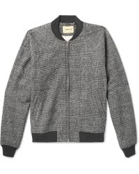 De Bonne Facture - Prince Of Wales Checked Brushed Cotton And Wool-blend Bomber Jacket - Lyst