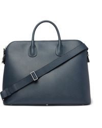 Valextra My Logo Pebble-grain Leather Briefcase - Blue