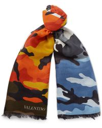 Valentino - Camouflage-print Modal And Cashmere-blend Scarf - Lyst