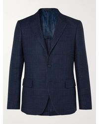 Mp Massimo Piombo Slim-fit Houndstooth Linen And Cotton-blend Blazer - Blue