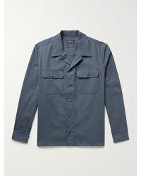 Howlin' Magic Work Camp-collar Pinstriped Cotton-blend Seersucker Shirt - Blue