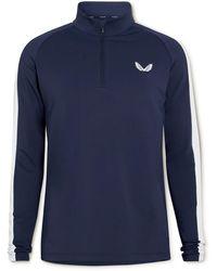 Castore Logo-print Striped Stretch-jersey Half-zip Golf Top - Blue
