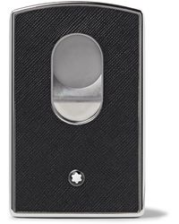 Montblanc Sartorial Cross-grain Leather And Silver-tone Card Case - Black