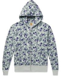 Human Made Logo-print Loopback Cotton-jersey Zip-up Hoodie - Gray
