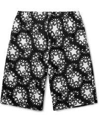 Gucci Wide-leg Printed Silk-twill Bermuda Shorts - Black