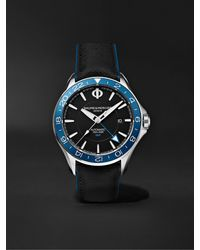 Baume & Mercier Clifton Club Automatic Dual Time 42mm Stainless Steel And Leather Watch - Black