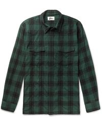 Pilgrim Surf + Supply Meyer Checked Cotton And Wool-blend Shirt - Green
