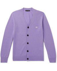 Acne Studios Logo-appliquéd Wool Cardigan - Purple