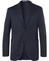 Boglioli - Storm-blue Unstructured Stretch Cotton And Linen-blend Suit Jacket - Lyst