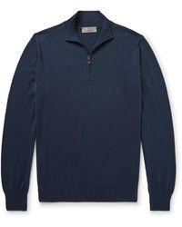 Canali Cotton Half-zip Sweater - Blue
