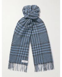 MR P. Fringed Houndstooth Merino Wool And Cashmere-blend Scarf - Blue