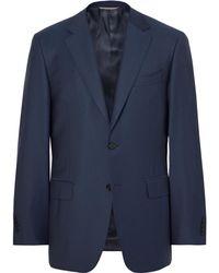 Canali - Storm-blue Slim-fit Water-resistant Super 130s Wool Suit Jacket - Lyst