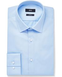 BOSS - Blue Jenno Slim-fit Cotton Oxford Shirt - Lyst