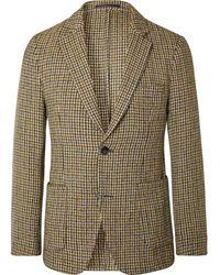 Officine Generale Brown Slim-fit Unstructured Houndstooth Wool-blend Blazer