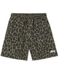 Stussy Leopard-print Shell Shorts - Green
