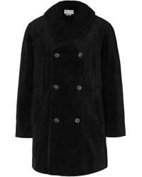 Oliver Spencer Newington Double-breasted Faux Shearling-lined Cotton-corduroy Coat - Black
