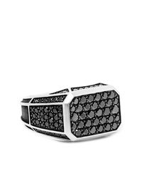 David Yurman Sterling Silver Diamond Signet Ring - Metallic