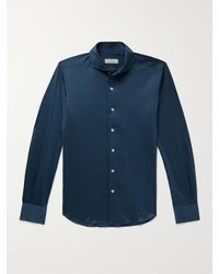 Canali Slim-fit Cutaway-collar Cotton-jersey Shirt - Blue