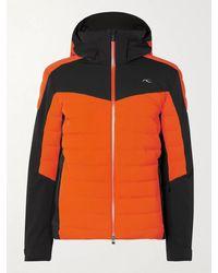 Kjus Sight Line Slim-fit Two-tone Quilted Ski Jacket - Orange