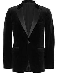 Theory | Black Slim-fit Satin-trimmed Stretch-cotton Velvet Tuxedo Jacket | Lyst