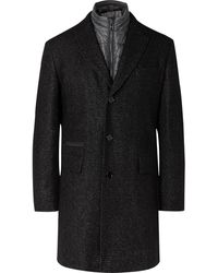BOSS Nido Slim-fit Virgin Wool-blend Bouclé Coat With Detachable Quilted Shell Gilet - Black