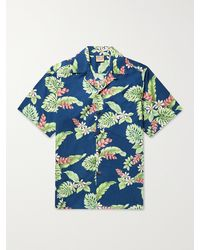 Go Barefoot Tiare Garden Camp-collar Printed Cotton Shirt - Blue