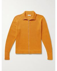 Pop Trading Company Logo-embroidered Panelled Cotton Zip-up Cardigan - Yellow