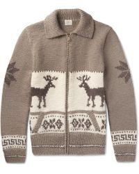 Faherty Fair Isle Wool And Alpaca-blend Cardigan - Brown