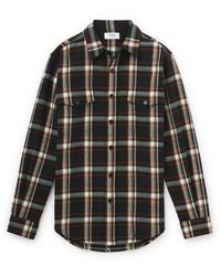 CELINE HOMME Checked Wool-flannel Shirt - Black